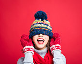 istock Happy Young Beautiful Woman in winter clothes 866842184