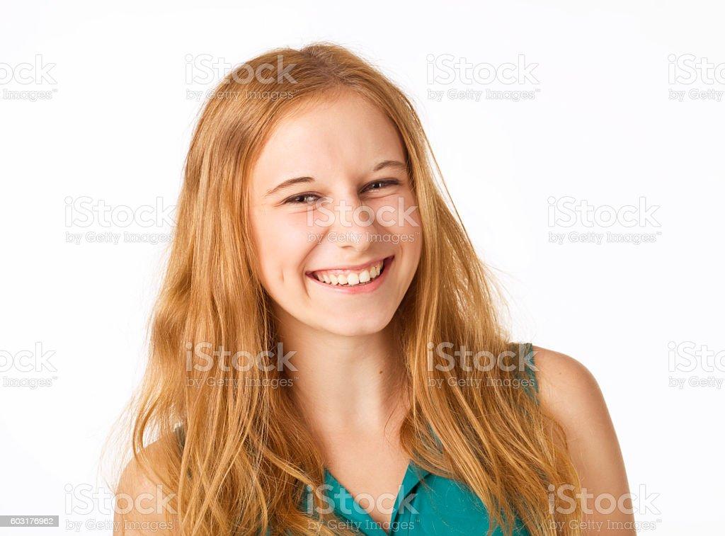 Glückliche junge Blondine Frau. – Foto