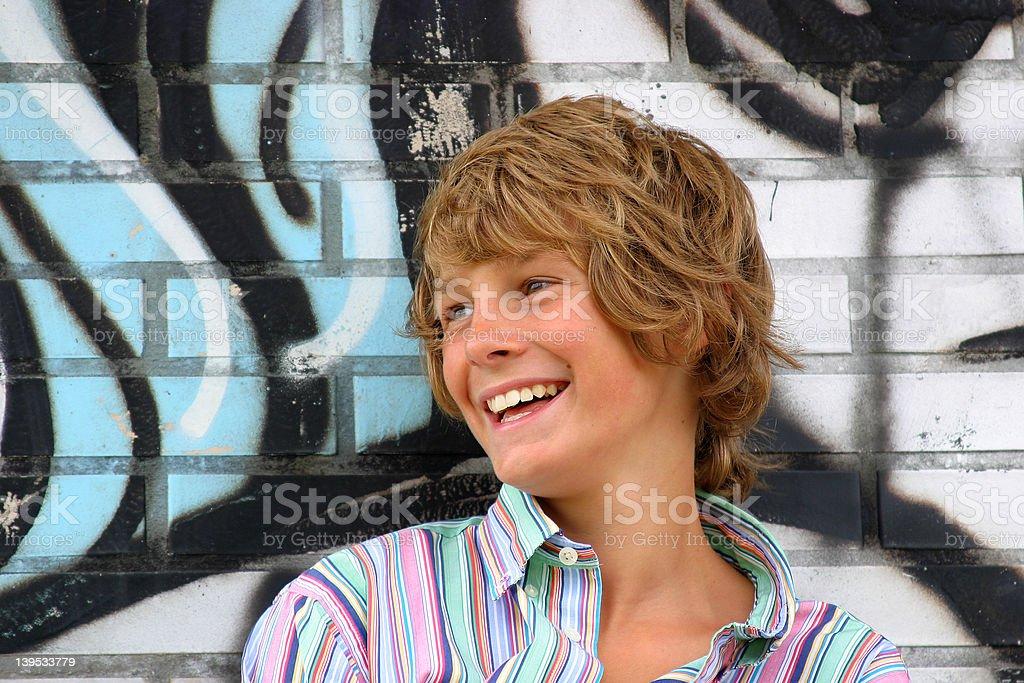 Happy young boy Happy blonde boy Adolescence Stock Photo