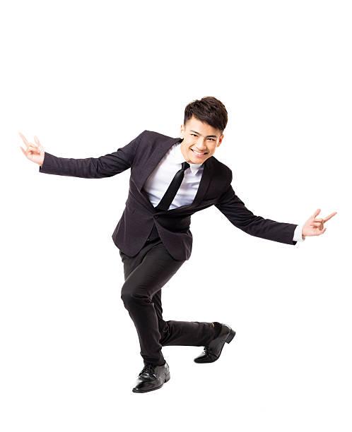幸せな若いビジネス男、成功のジェスチャー ストックフォト