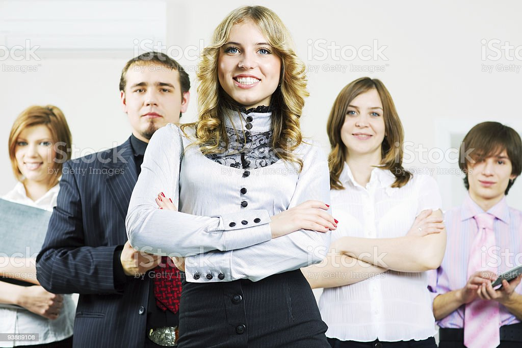 Happy young business team royalty-free stock photo