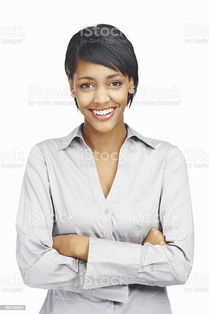 Happy young business woman with hands folded against white royalty-free stock photo