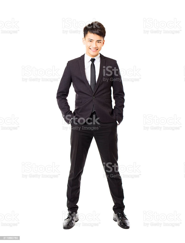 happy young businessman isolated on white stock photo