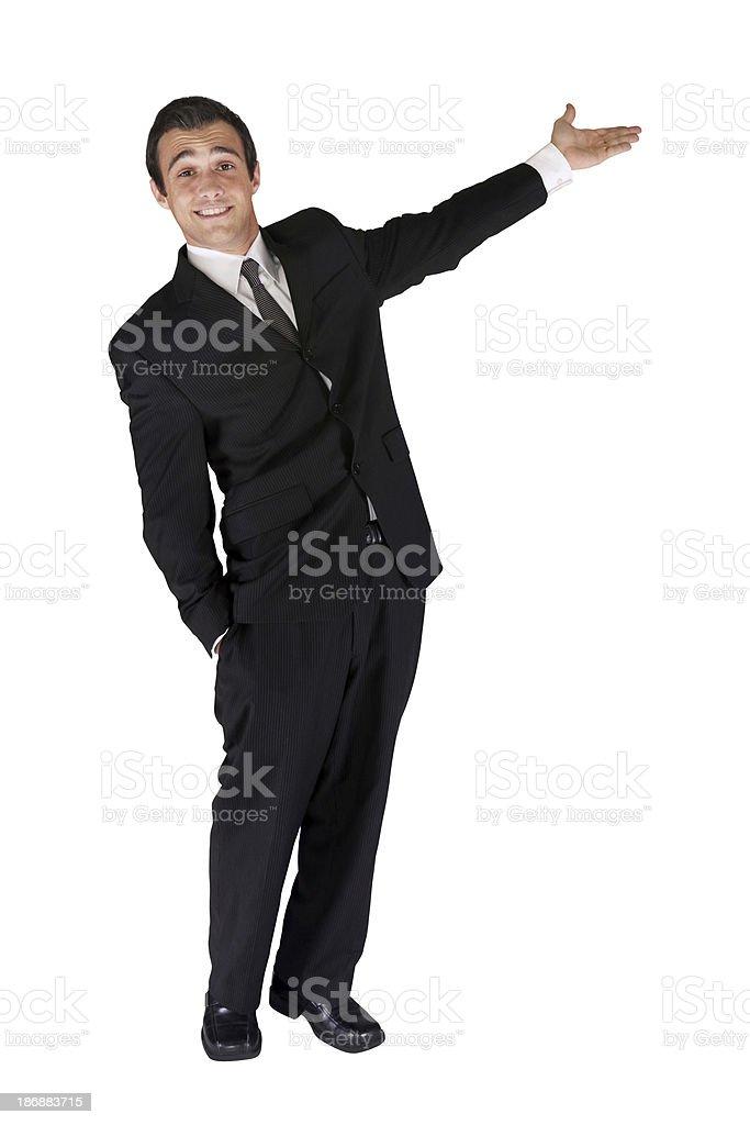 Feliz joven empresario y la presentación - foto de stock