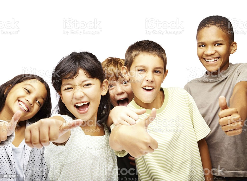 Happy young children making signs in joy royalty-free stock photo