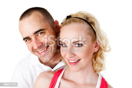 istock Happy Young Couple Close Up Portrait 186840280