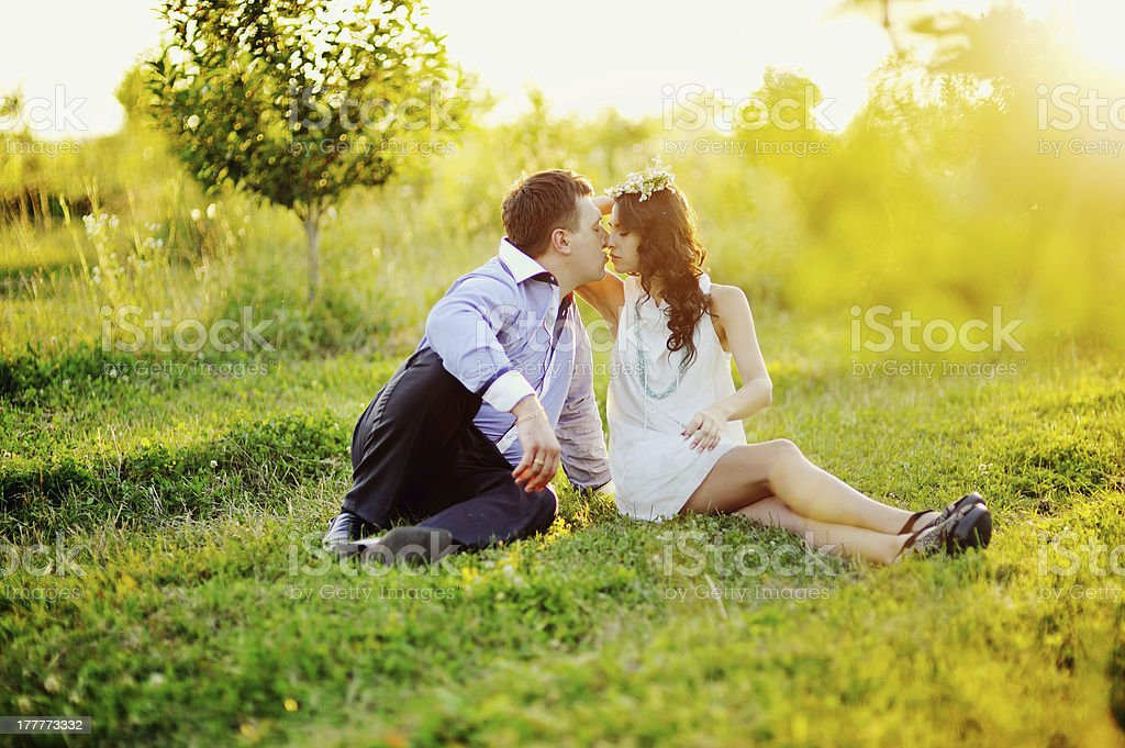 Happy young couple having  great time outside royalty-free stock photo