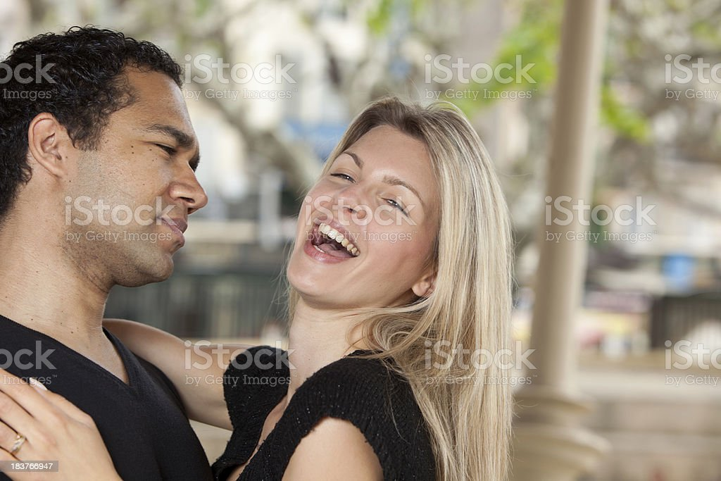 Happy young couple Holding each other stock photo