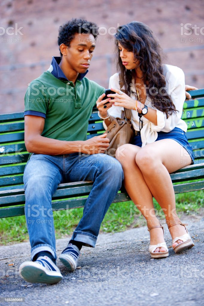 Happy Young Couple  in Milan, Italy royalty-free stock photo