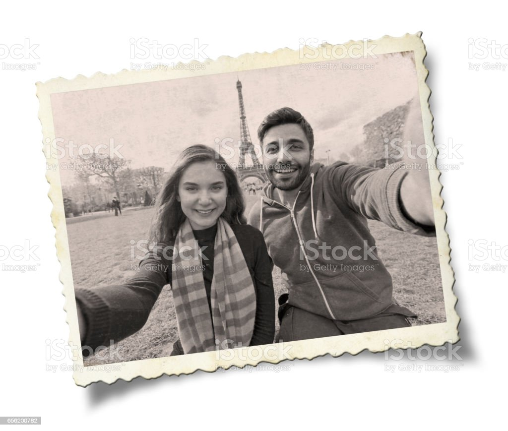 Happy young couple in Paris. stock photo
