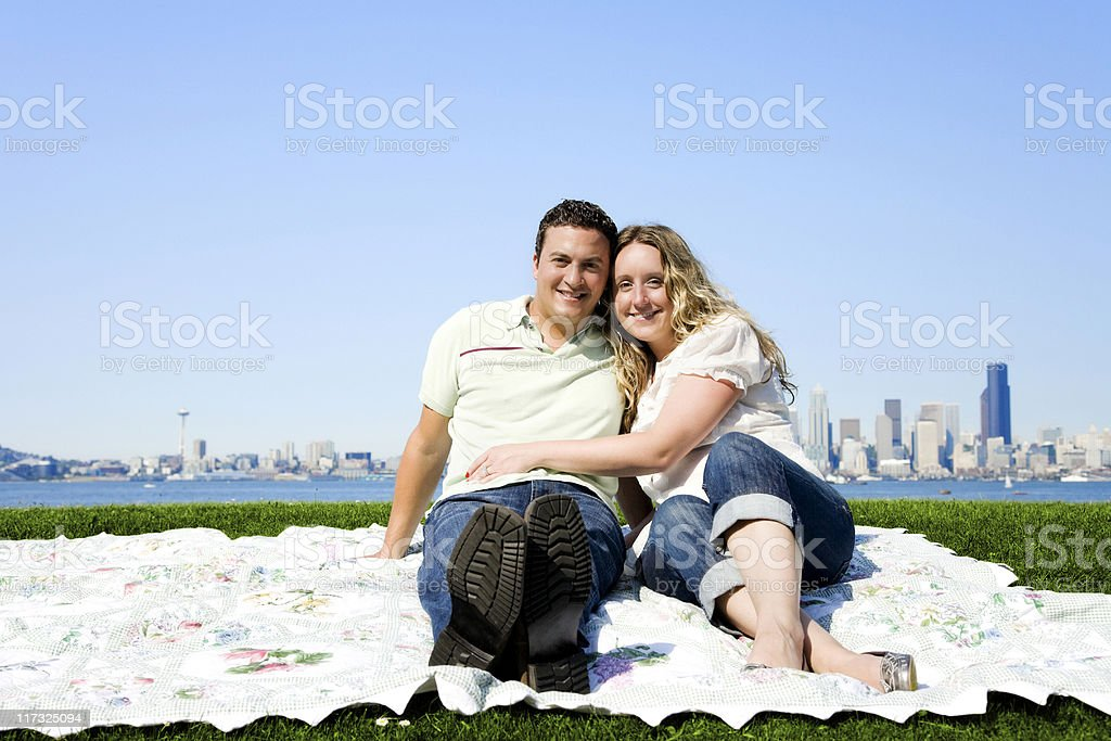 Happy Young Couple in Seattle Park royalty-free stock photo