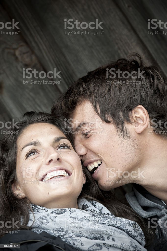Happy young couple is having a good time togehter royalty-free stock photo