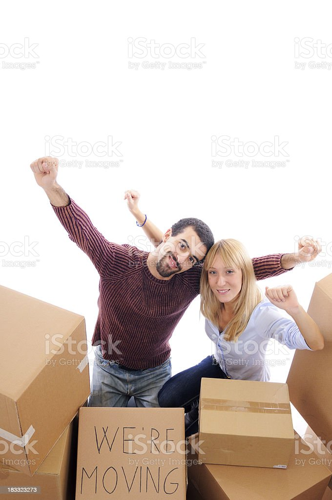 Happy Young Couple Moving House royalty-free stock photo
