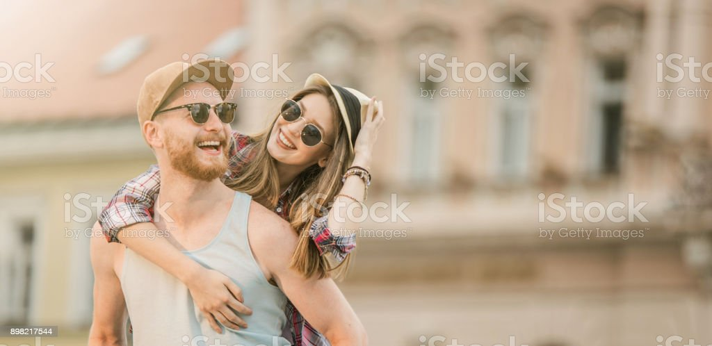 Happy young couple. stock photo