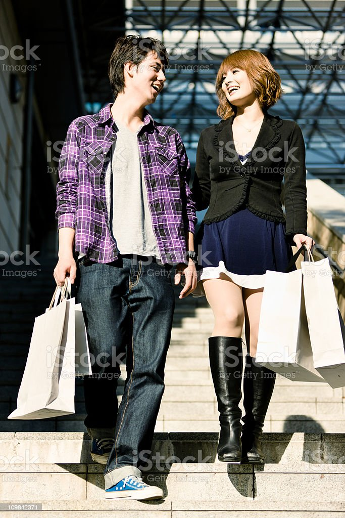 Happy Young Couple Shopping royalty-free stock photo