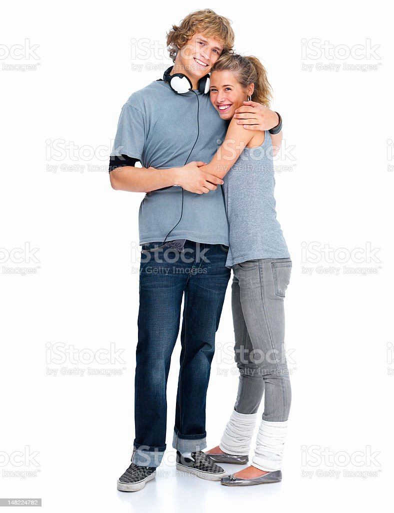 Happy young couple standing together royalty-free stock photo