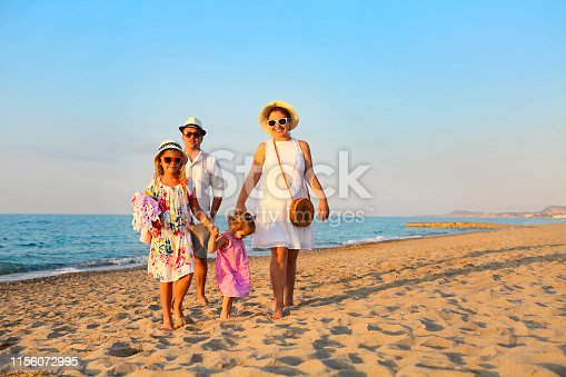 147878016 istock photo Happy young family have fun on beach 1156072995