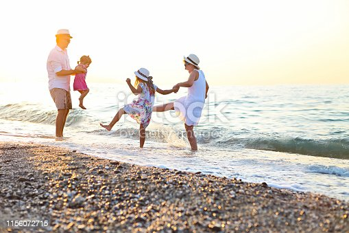 849648098 istock photo Happy young family have fun on beach run and jump 1156072715