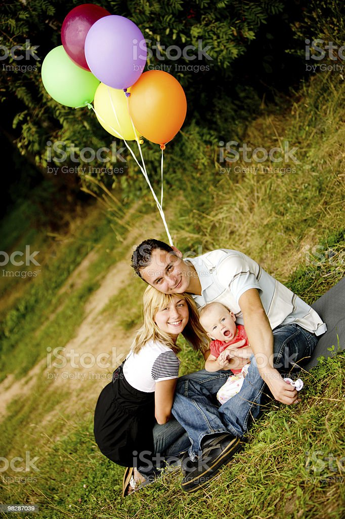 Happy Young Family outdoors royalty-free stock photo