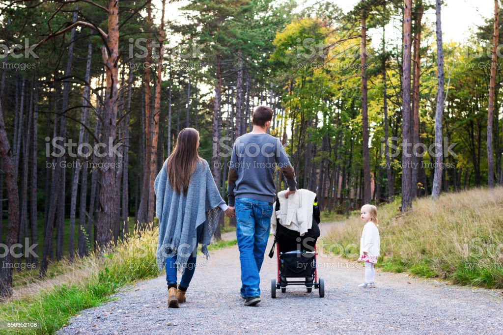 Happy young family taking a walk in park, back view. stock photo
