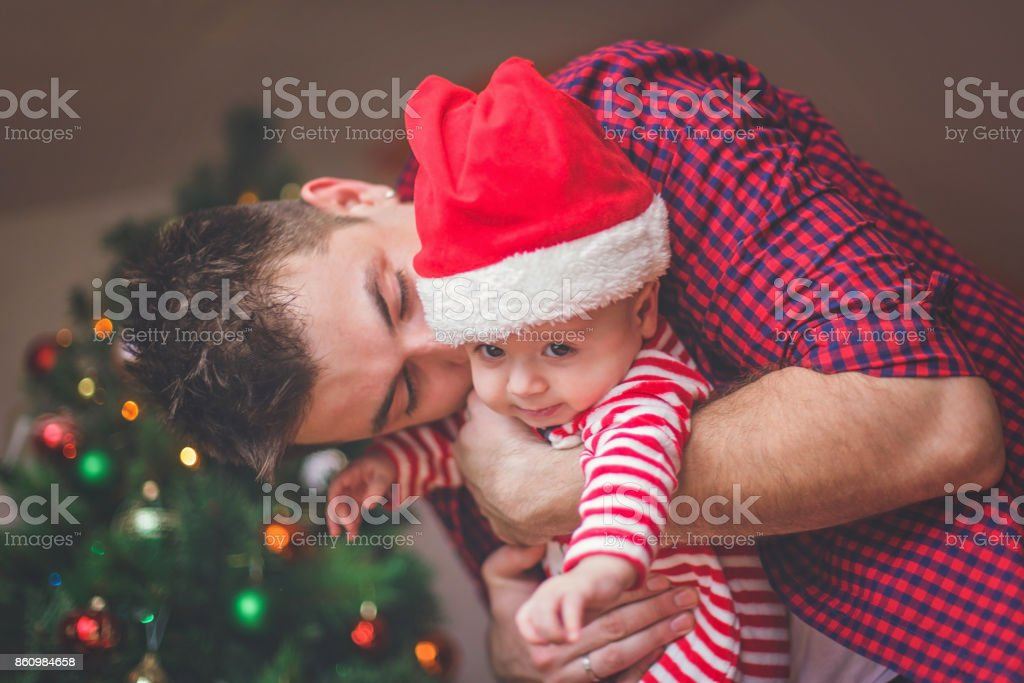 Happy young father and son stock photo