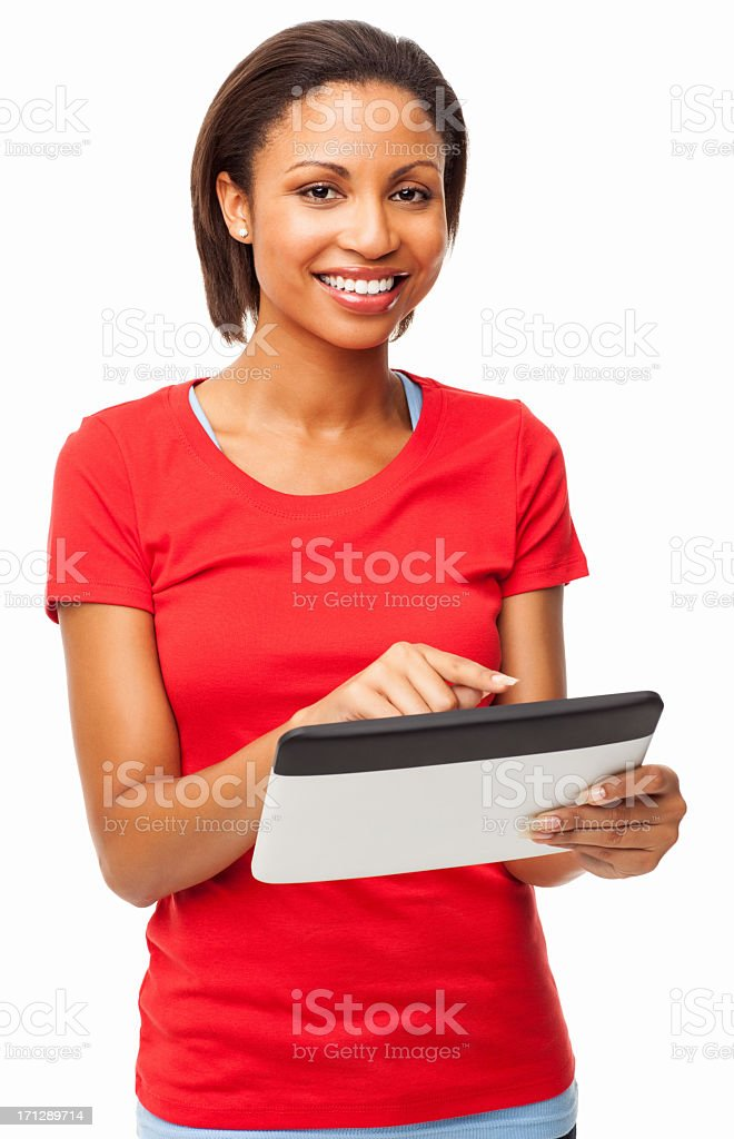 Happy Young Female Using Digital Tablet - Isolated stock photo