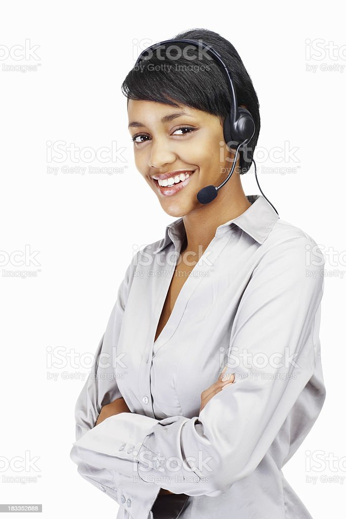 Happy young female wearing headset royalty-free stock photo