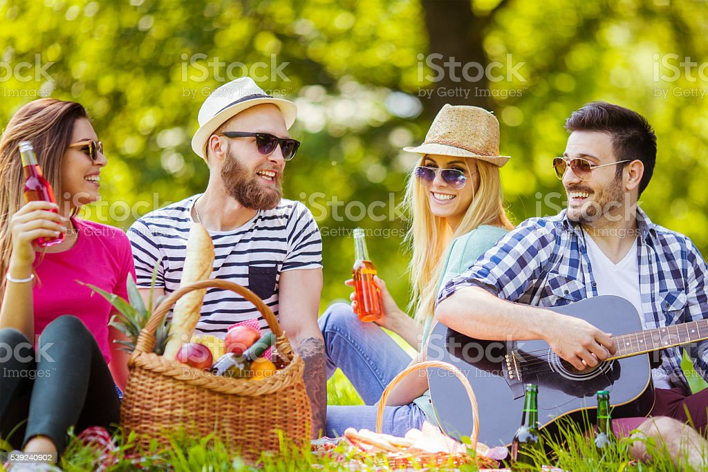 Happy young friends having picnic in the park royalty-free stock photo