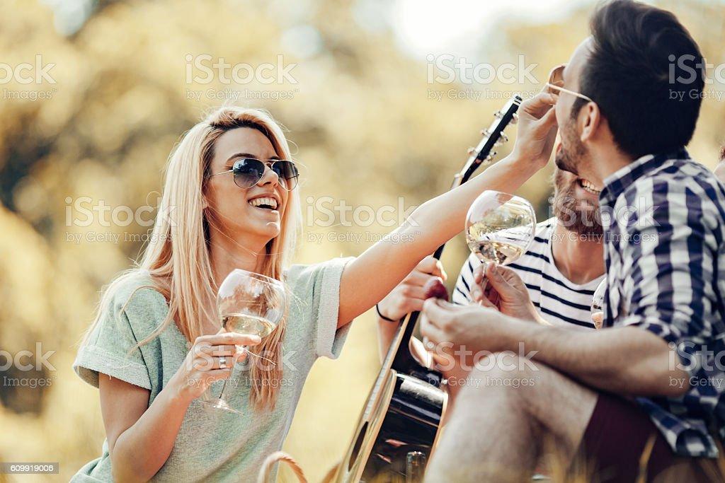 Glückliche junge Freunde haben Picknick im park – Foto