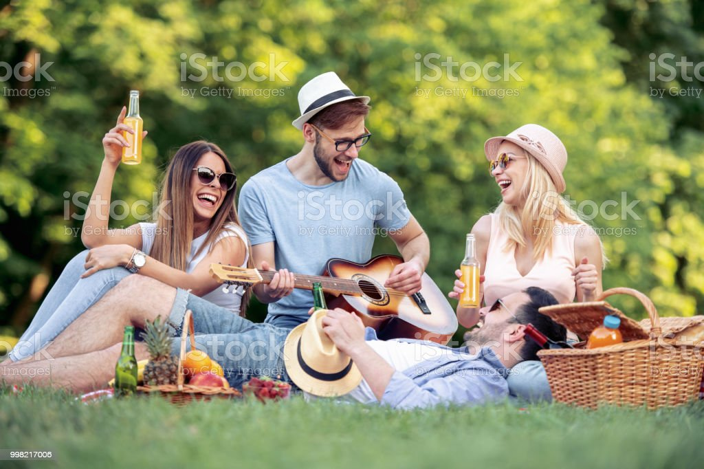 Happy young friends having picnic in the park stock photo