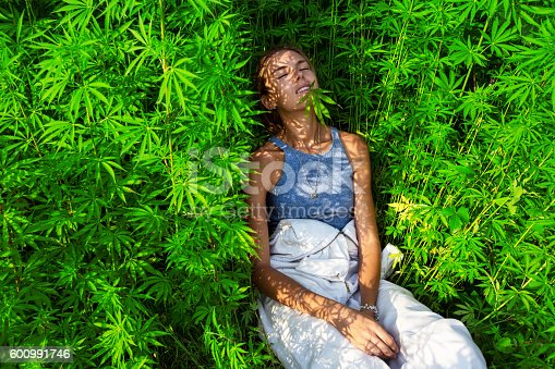 istock Happy young girl in a  marijuana bush 600991746