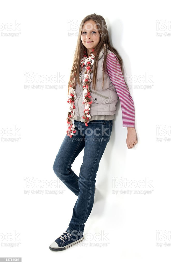 happy young girl on white background stock photo