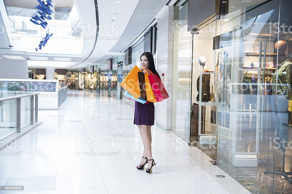 happy young girl shopping royalty-free stock photo