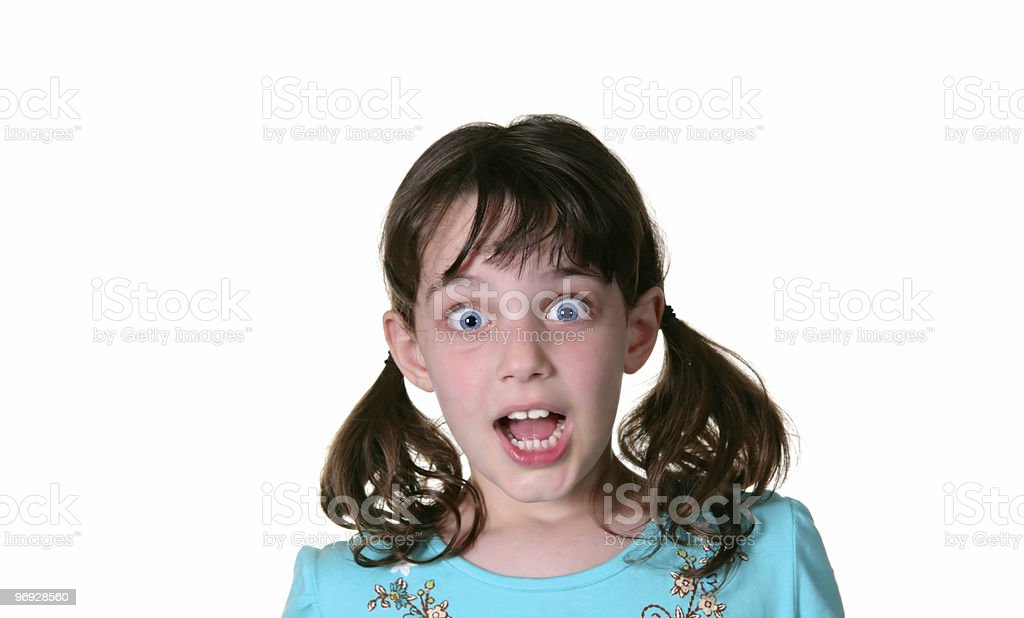 Happy Young Girl With Surprised Look on Her Face royalty-free stock photo