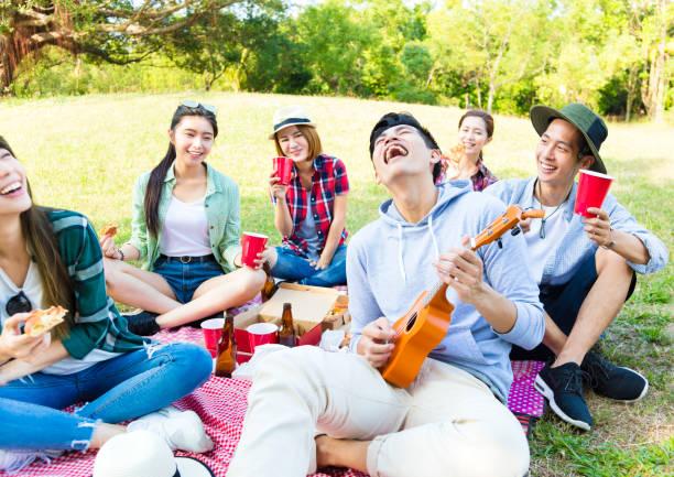 glückliche junge gruppe genießen picknick-party - ukulele songs stock-fotos und bilder