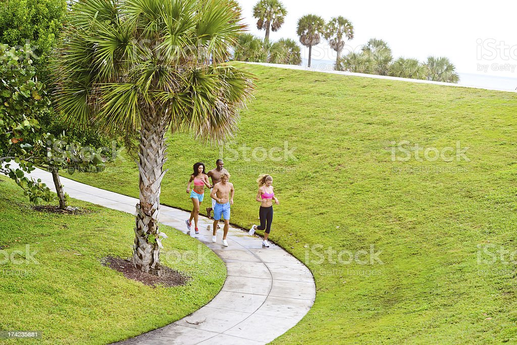Happy Young Group of Friends Exercising Ourdoors royalty-free stock photo