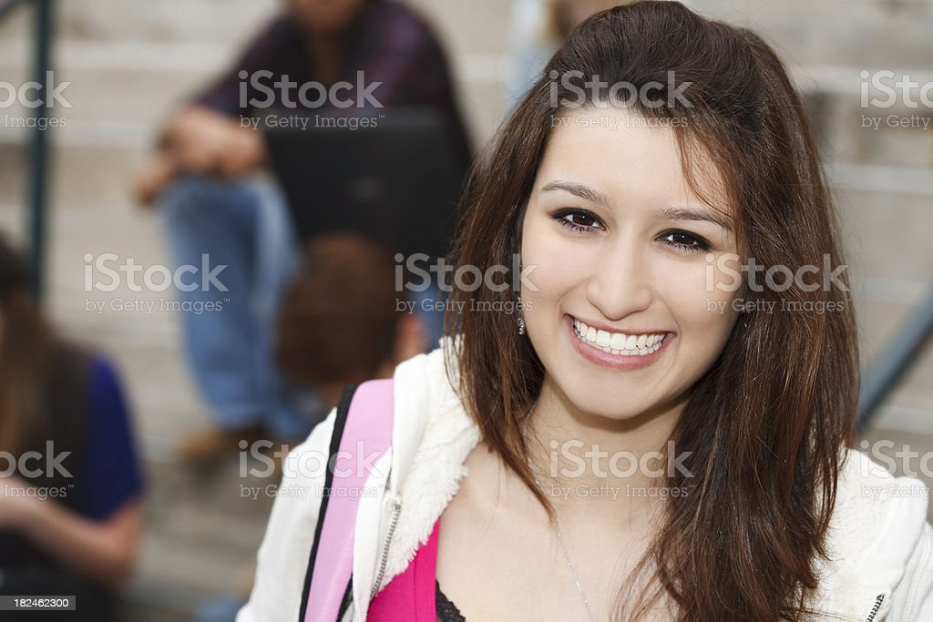 Happy Young Hispanic Student on Campus royalty-free stock photo