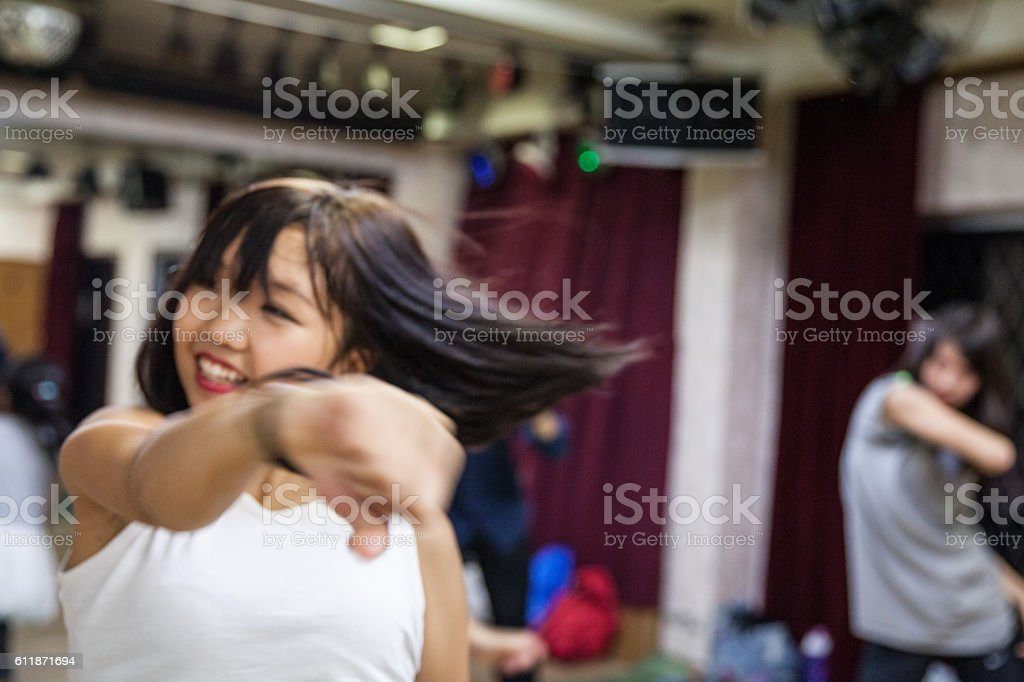 Happy young Japanese girls stock photo