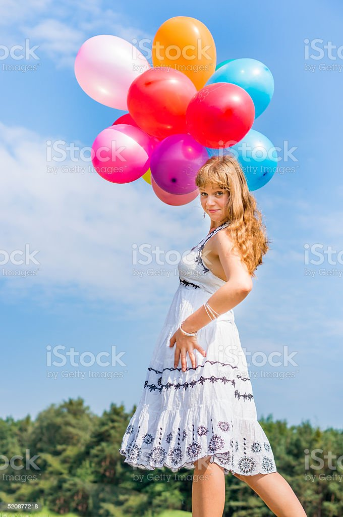 Adult Blue Celebration Fun Heaven Happy Young Lady Celebrates Birthday With Balloons