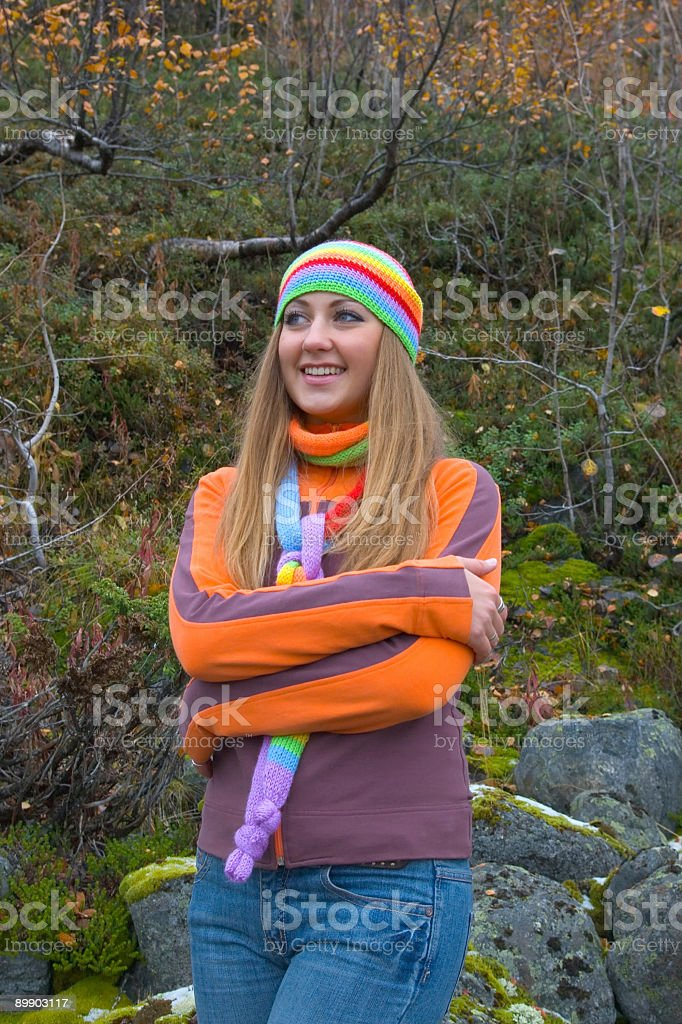 Happy young lady in vivid clothes royalty-free stock photo