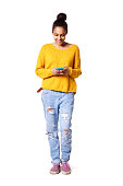 istock Happy young lady reading text message on her cellphone 539465034