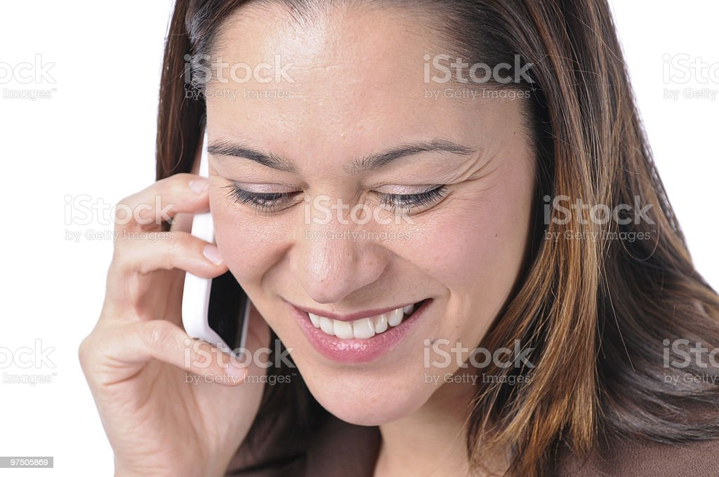 Happy young lady with telephone royalty-free stock photo