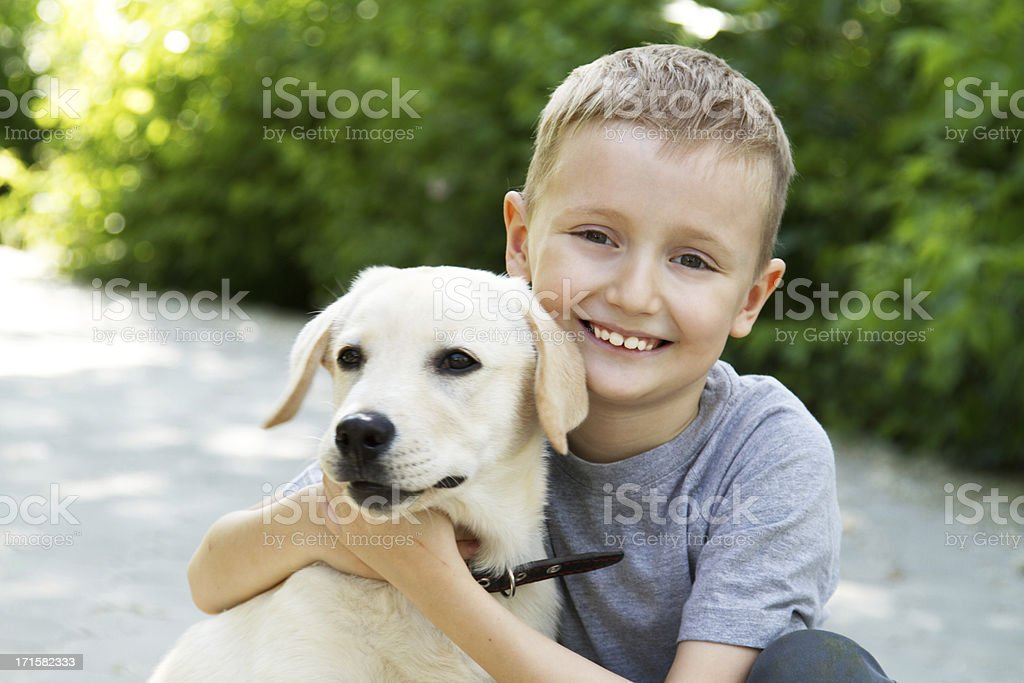Happy young male child hugging white dog stock photo