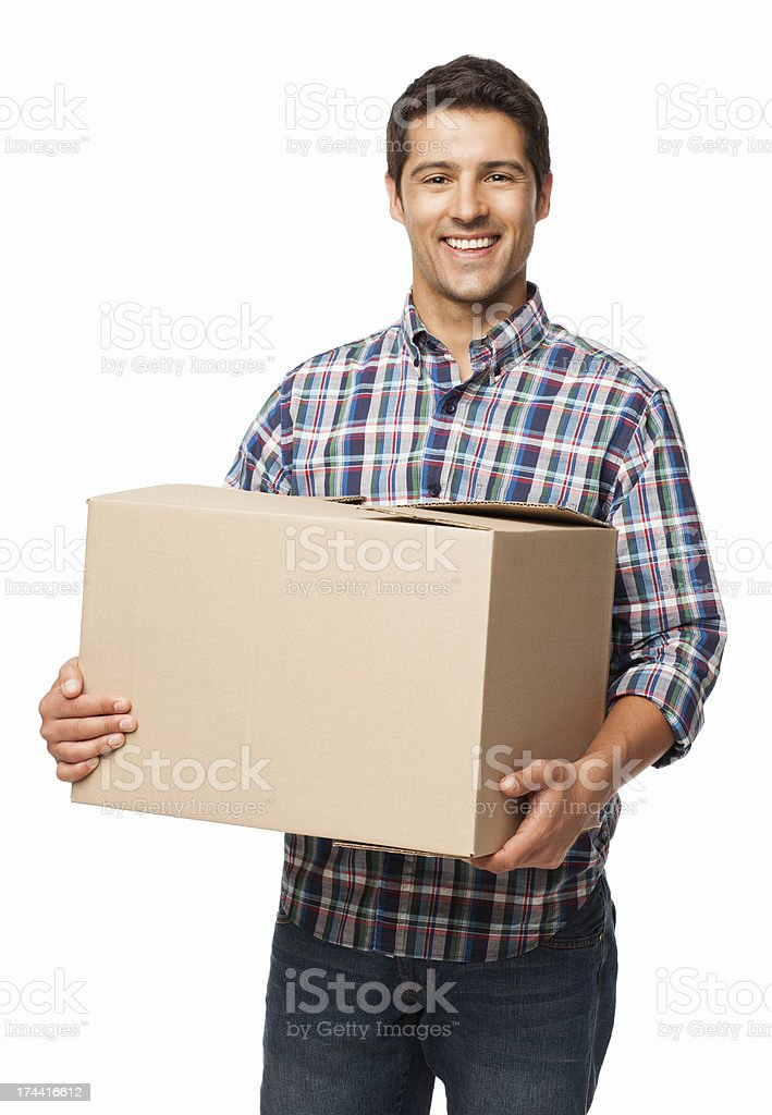 Happy Young Man Carrying a Cardboard Box - Isolated stock photo