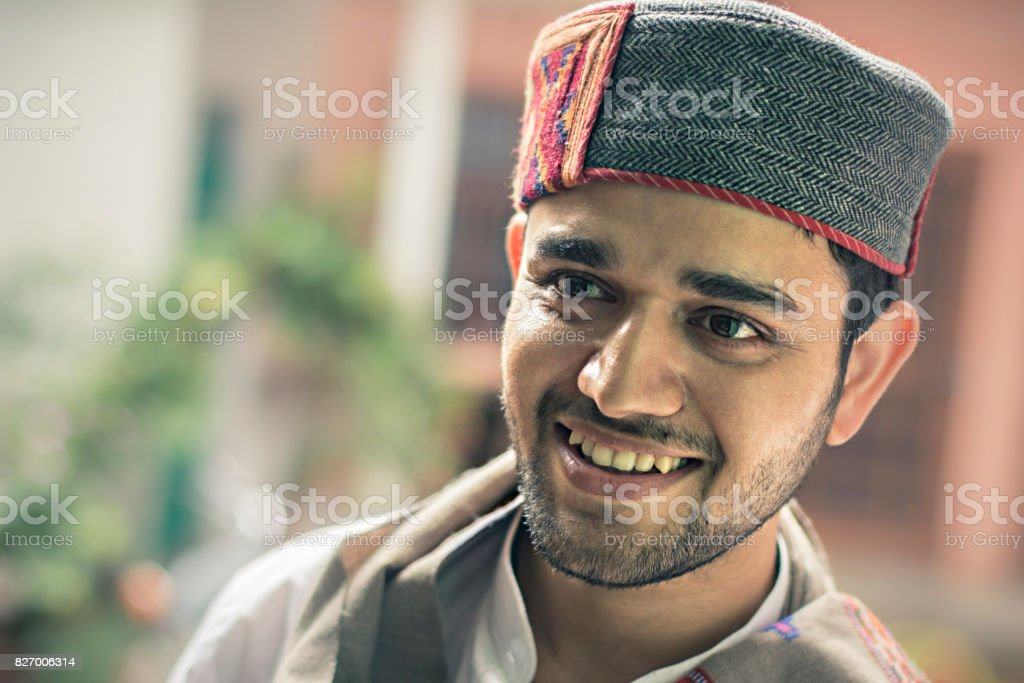 Happy young man, Himachal Pradesh, India. stock photo