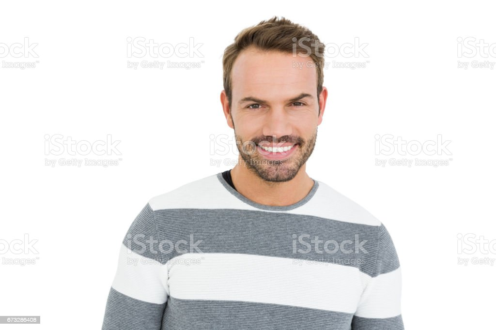 Happy young man in winter wear royalty-free stock photo