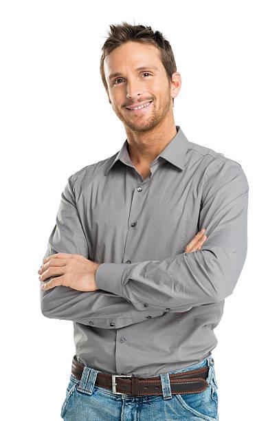 happy young man - mid volwassen mannen stockfoto's en -beelden