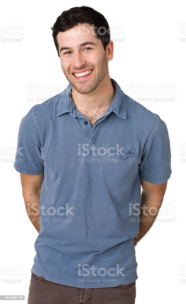 Happy Young Man Posing, Hands Behind Back royalty-free stock photo