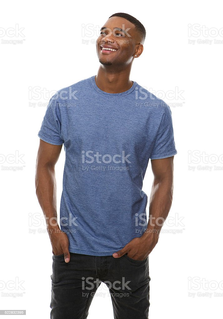 Happy young man smiling stock photo