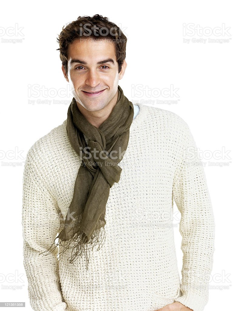Happy young man standing over white background royalty-free stock photo